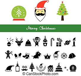 Merry Christmas icons set