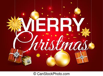 Vector Merry Christmas illustration with gold ball on red background