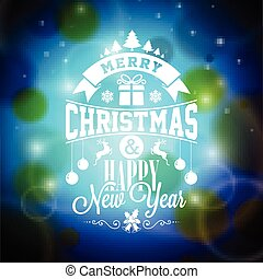 Vector Merry Christmas illustration with typographic design on shiny blue background.