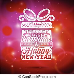 Vector Merry Christmas illustration with typographic design on shiny red background.