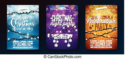 Vector Merry Christmas Party Design with Holiday Typography Elements and Light Garland on Shiny Background. Celebration Fliyer Illustration Set.