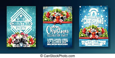 Vector Merry Christmas Party design with holiday typography elements and speakers on shiny blue background. Celebration Fliyer Illustration Set.