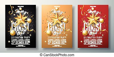 Vector Merry Christmas Party Flyer Illustration with Holiday Typography Elements and Gold Ornamental Ball, Cutout Paper Star on Clean Background. Celebration Poster Design Template Set of Three Variation.
