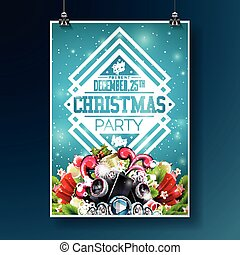 vector merry christmas party flyer illustration with typography and holiday elements on blue background invitation