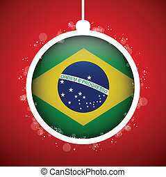 Merry Christmas Red Ball with Flag Brazil