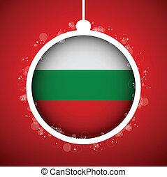 Merry Christmas Red Ball with Flag Bulgaria