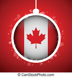 Merry Christmas Red Ball with Flag Canada - Vector - Merry...