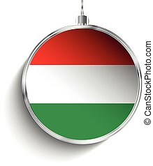 Merry Christmas Silver Ball with Flag Hungary - Vector -...