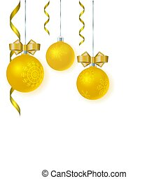 Vector merry christmas template for greeting card, invitation. Golden glossy balls with bows and snowflakes.