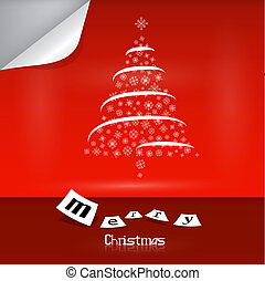 Vector Merry Christmas theme on red background