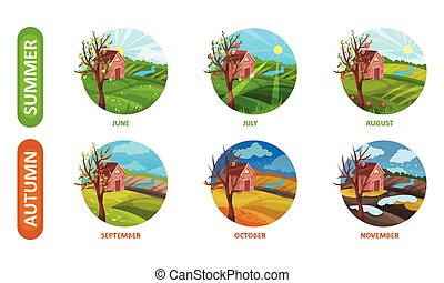 vector, meses, aislado, fondo blanco, iconos, estaciones, conjunto, otoño, ilustración, verano, seis, año