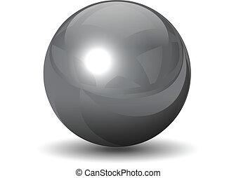 vector, metálico, cromo, esfera