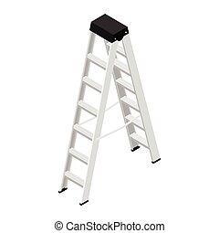 vector., metálico, stepladder, aluminio, escalera, steps., construcción, casa, aislado