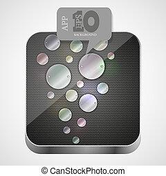 Vector metal app icon with gray bubble speech. Eps10