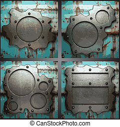Vector metal background set