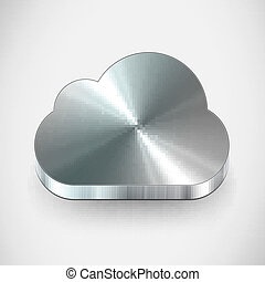 Metal cloud icon. Vector illustration. Eps 10 format.
