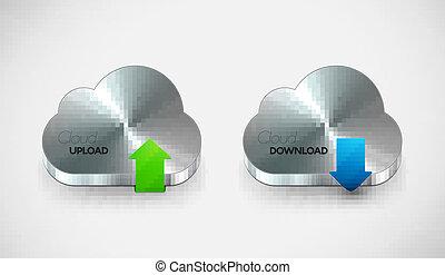 Vector metal cloud icon set