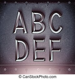 Vector Metal Embossed Font A to F - Vector Metal Embossed...