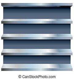 vector, metal, estantes