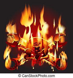 Metal Jolly Roger in flame - Vector Metal Jolly Roger in...