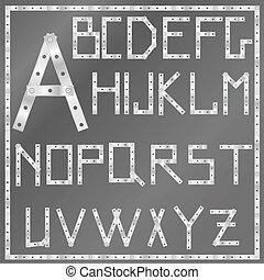 vector metal latin alphabet