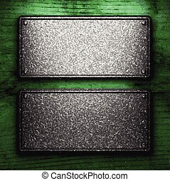 vector metal on wood background