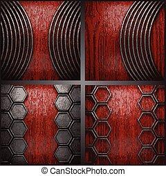 Vector metal on wood background set