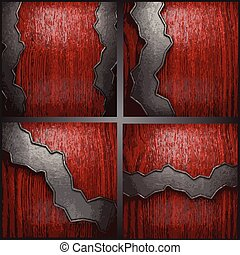 Vector metal on wood background set