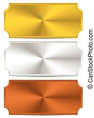 vector., metal, ouro, pratos, plaques., prata, bronze
