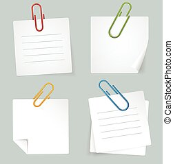 Vector Metal Paperclip and White Paper Notes Set