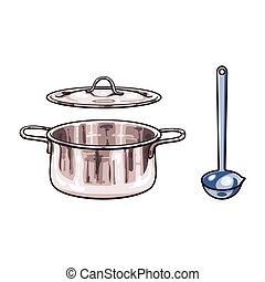 vector metal pot, ladle sketch cartoon isolated