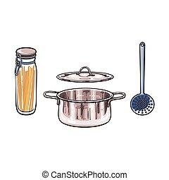 vector metal pot skimmer glass jar with lid sketch