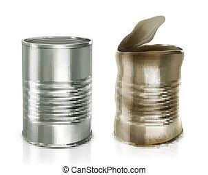 vector, metalen, cans., tin, illustratie