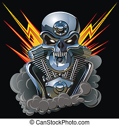 metall skull with engine - Vector metall skull with engine ...