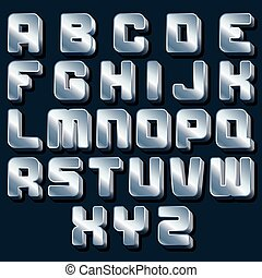 Vector Metallic Alphabet. Ready for Your Design.