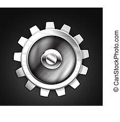 Vector metallic gear icon design - Icon - metallic gear ...