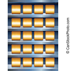 Vector Metallic Shelves with Empty Golden Buttons