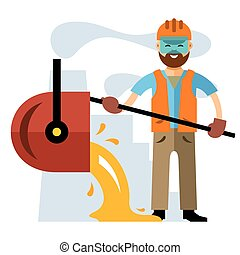 Vector Metallurgical industry. Flat style colorful Cartoon...