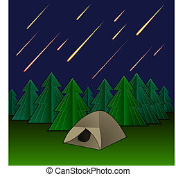 Vector Meteor Rain, Tent and Fir Trees, Shining Meteors on the Sky.
