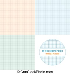 Vector metric graph paper seamless patterns set, 1mm grid...