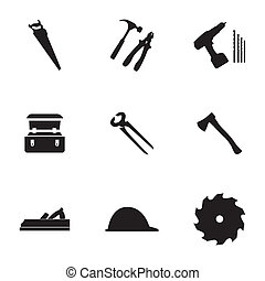 vector, meubelmakerij, set, black , iconen