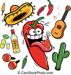Vector Mexican collection with cartoon mariachi chili pepper...