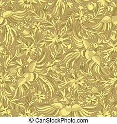 vector Mexican embroidery gold seamless pattern