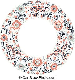 vector Mexican embroidery round frame pattern