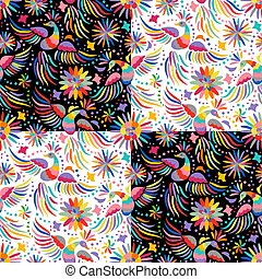 vector Mexican embroidery seamless pattern