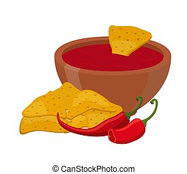 Vector mexican nachos, chips with spicy sauce, hot chili pepper. Cartoon flat style