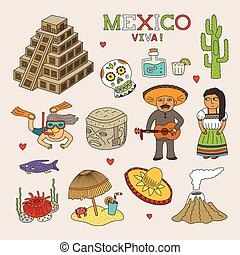 Vector Mexico Doodle Art for Travel and Tourism