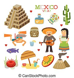 Vector Mexico flat style art for travel and tourism