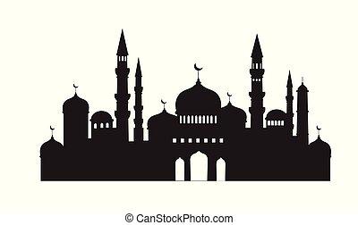 vector, mezquita, icono