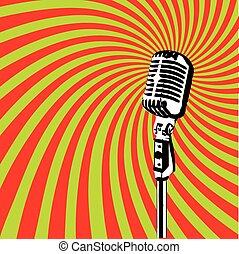 vector, micrófono, 2, retro